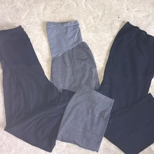 THREE PAIR Over Belly Cotton Capris